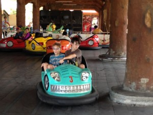 Tom and Matt on the dodgems at Chamkar Pring.